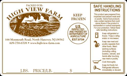 Sample Of Label For USDA Inspected Beef, Pork, Lamb  Product Label Sample