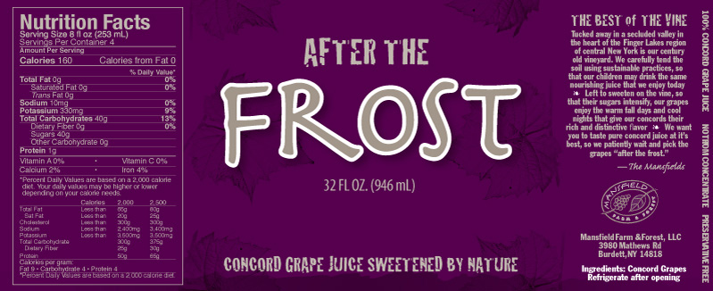 After the Frost Grape Juice Label- Beverage Label